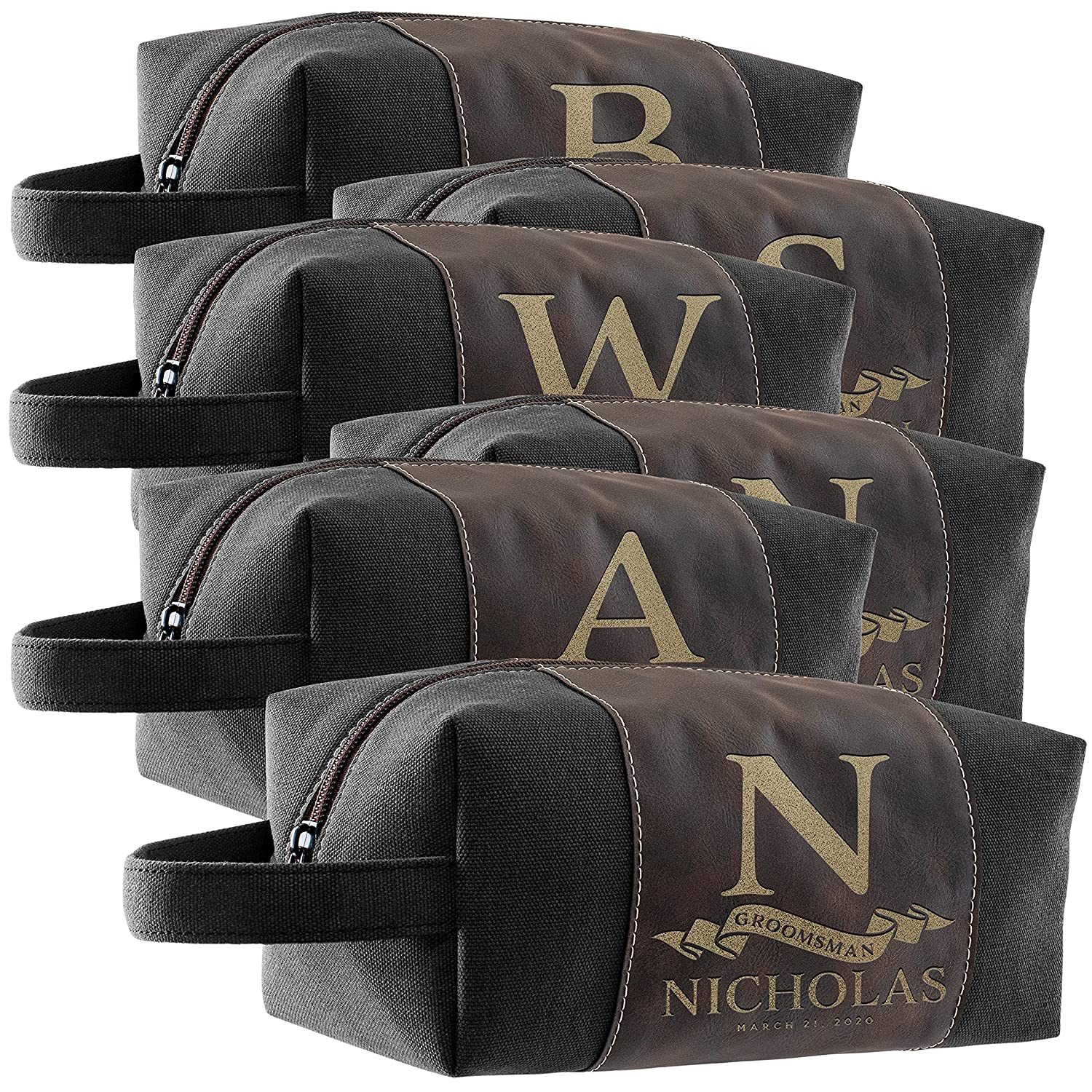Set of Louisville-Jefferson County Mall Max 80% OFF 6 - Personalized Groomsmen Custom Gifts Bag Toiletry Men