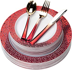 FOMOICA Red Plastic Plates and Red Gold Silverware - 125 Piece Disposable Premium Plastic Dinnerware Set – Dinner Plates, Forks, Spoons, Knives – Birthday Parties, Wedding, Halloween, Christmas