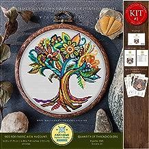 Mandala Tree of Life #K256 Embroidery Cross Stitch Kit | Nature Cross Stitch Patterns | How to Cross Stitch | Needlepoint Kits | Stitch Patterns