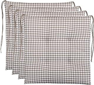 Cojín para silla de cuadros Brandsseller, acolchado para asiento de jardín,40x 40cm, colorantracita, gris claro, marrón o beige, algodón mezcla, beige, 4er-Paket