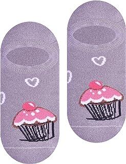 Steven, Girls elegantes calcetines extra bajos, patrón universal, viscosa premium, pastelitos rosas y corazones sobre un fondo crema, EU26-28