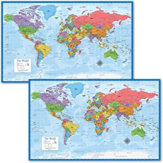 "2 Pack - World Map Posters [Blue Ocean] (Laminated, 18"" x 29"")"