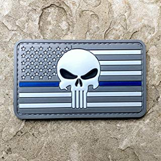 NEO Tactical Gear Subdued Thin Green Line Thin Blue Line American Flag and Punisher PVC Rubber Morale Patch - Military and Airsoft Morale Patch Velcro Backed