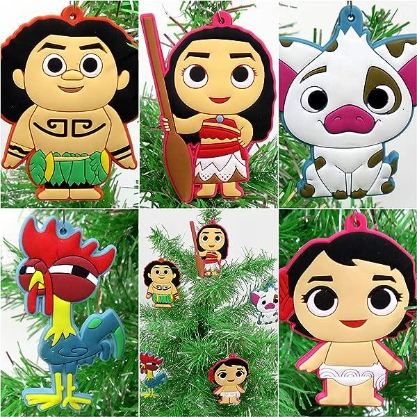 Moana 5 Piece Christmas Tree Ornament Set Featuring Moana Hei Hei Maui And Friends