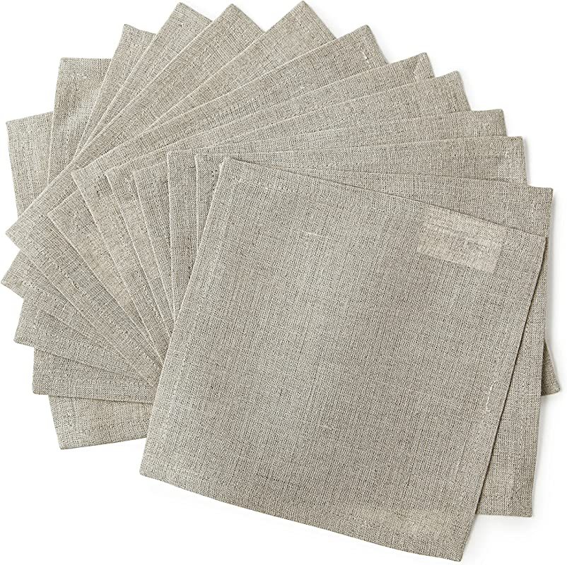 Solino Home Linen Cocktail Napkins 6 X 6 Inch Natural Set Of 12 Machine Washable Bella Soft And Handcrafted With Mitered Corners
