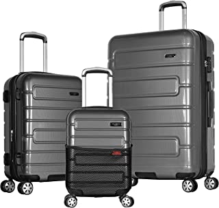 Olympia Nema 3-Piece Exp. Hardcase Spinner Luggage Set W/TSA Lock, Black, One Size
