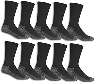 Men's Cotton Work Gear Crew Socks | Cushioned, Wicking, Durable | 10 Pack