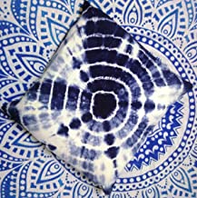 Traditional Jaipur Indigo Pillow, Outdoor Cushion Cover 16x16, Tie Dye Cushions, Decorative Cotton Throw, Shibori Pillow C...