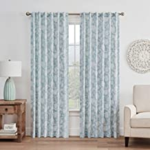WAVERLY Stencil Vine Rod Pocket Single Panel Privacy Window Treatment Living Room, 52 in x 84 in, Spa