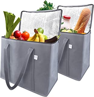 EFB Solutions Insulated Reusable Grocery Shopping Bags Long Handles Premium Quality Extra Large 16 x 13 x 9 Foldable Insulation Cooler Tote Bag | 2 Pack