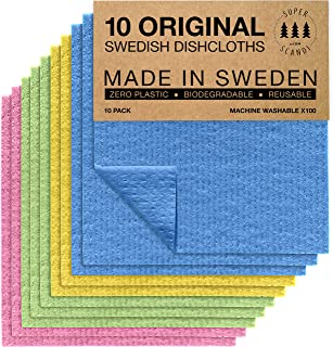 Swedish Dishcloths Eco Friendly Reusable Sustainable Biodegradable Cellulose Sponge Cleaning Cloths for Kitchen Dish Rags ...