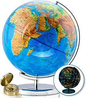 "World Globe with Illuminated Constellations – 13"" Light Up Globe for Kids &.."