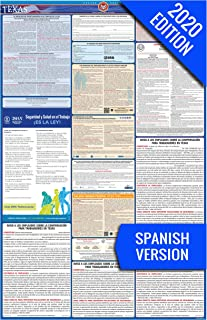 2020 Texas (Spanish) Labor Law Poster –State, Federal, OSHA Compliant – Single Laminated Poster