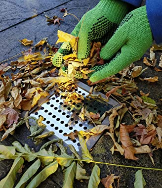 Medipaq 2X Square Swirl Rustproof Stainless Steel Drain Leaf Guard Drainage Covers - 15cm x 15cm Plus Free Gardening Gloves
