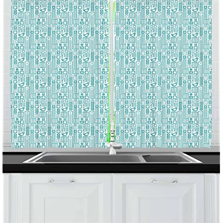 Ambesonne Nordic Kitchen Curtains Scandinavian Folk Ornaments With Modern Design Abstract Flowers And Birds Window Drapes 2 Panel Set For Kitchen Cafe Decor 55 X 39 Seafoam White Home Kitchen