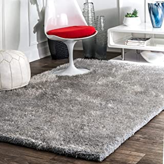 nuLOOM Maginifique Hand Tufted Shag Rug, 6' x 9', Light Grey