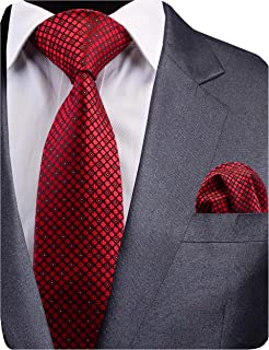 New Design Mens Plaid Tie Wedding Necktie and Pocket Square Set