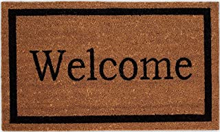 BIRDROCK HOME Welcome Coir Doormat - 18 x 30 Inch - Standard Welcome Mat with Black Border and Natural Fade - Vinyl Backed...