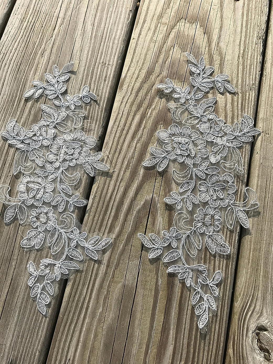 #127 TWO Pairs Lace Appliques ,Wedding Applique, Lace Appliques, Embroidered Appliques (Grey)