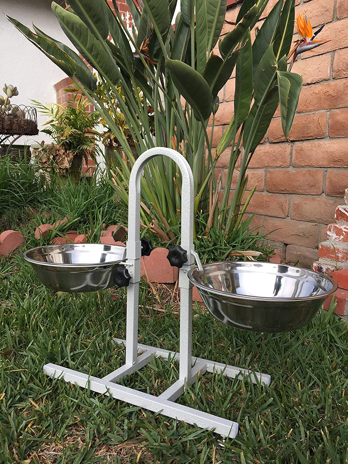 Mcage 2-Quart/3-Quart/5-Quart Adjustable Double Wrought Iron Chew Free Stainless Steel Dog Cat Pet Diner Food Water Bowls