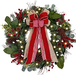 Valery Madelyn Pre-Lit 30 Inch Farmhouse Christmas Wreath for Front Door with Ball Ornaments Decorations, Berries, Pine Cones, Ribbons and Flowers, Battery Operated 40 LED Lights
