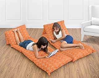 Sweet Jojo Designs Orange and White Arrow Kids Teen Floor Pillow Case Lounger Cushion Cover (Pillows Not Included)