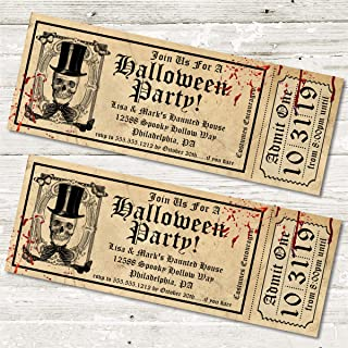 Halloween Party Ticket Invitations, Realistic Halloween Birthday Party Ticket Invitations, Halloween Party Invitations