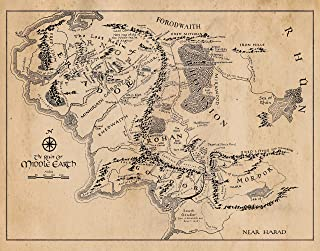 Map of Middle Earth Vintage Poster Prints, Set of 1 (11x14) Unframed Picture, Great Wall Art Decor Gifts Under 15 for Home, Office, Man Cave, LOTR, Hobbit, Comic-Con & Lord of the Rings Movies Fan