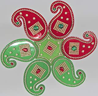 Acrylic Floor Rangoli 8 Dia Meter Indian Traditional Home Decor Decoration Gifts For Wall Floor Home Puja Pooja Red Green Home Decor Accents Commemorative Decorative Plates