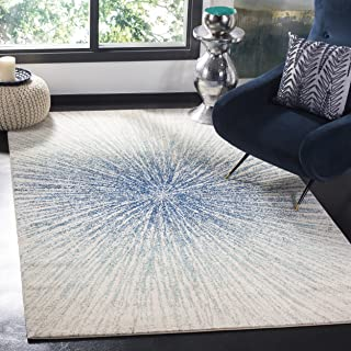 Safavieh Evoke Collection EVK228A Contemporary Burst Royal Blue and Ivory Area Rug (5'1