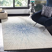 Safavieh Evoke Collection EVK228A Contemporary Burst Royal Blue and Ivory Area Rug (6'7
