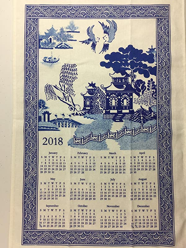 Blue Willow 2018 Kitchen Dish Towel Calendar Tea Towel By Finds And Furnishings