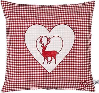 Enstaka kudde broderad med hjort och hjärta röd veckad storlek 40x40 cm Fylld med stenflingor gjorda av Alperna Zirbenwood...