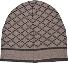 Gucci Unisex Multi-Color 100% Wool Beanie Hat One Size Beige/Brown