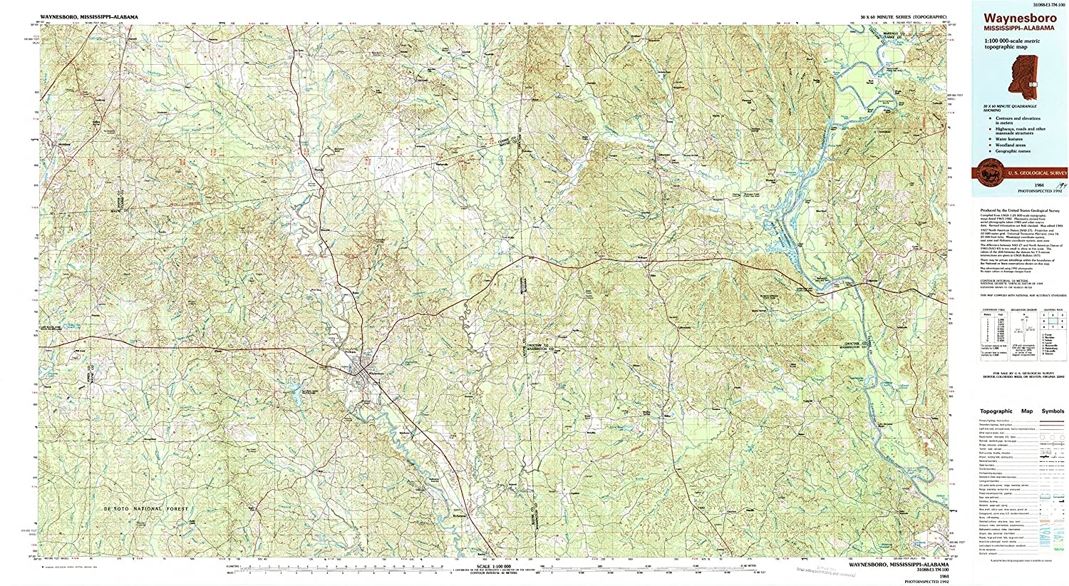 Waynesbgold MS topo map, 1 100000 Scale, 30 X 60 Minute, Historical, 1984, Updated 1994, 24.1 x 43.9 in