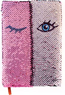 Flip Sequin Journal/Notebook for Girls | Reversible Magic Diary | Unique Gift for Kids | (A5, Pink/Silver) The Original Eye-Opening Notebook