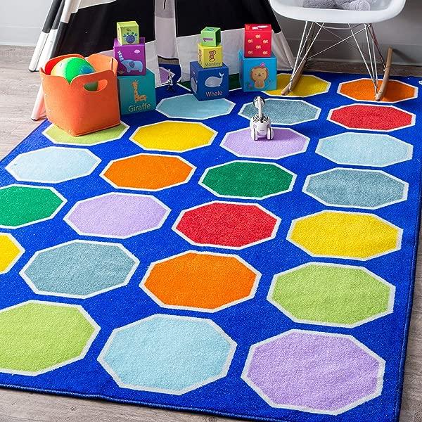 NuLOOM Kecia Octagons Printed Kids Rug 4 4 X 6 Blue