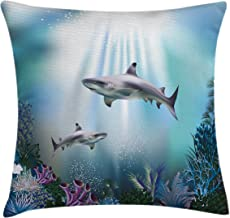 Ambesonne Underwater Throw Pillow Cushion Cover, Realistic Illustration Wild Sharks and Plants Corals Seaweed Aquatic Ocea...
