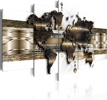 murando Bilder 200x100 cm - Leinwandbilder - Fertig Aufgespannt - Vlies Leinwand - 5 Teilig - Wandbilder XXL - Kunstdrucke - Wandbild - Weltkarte k-A-0022-b-n