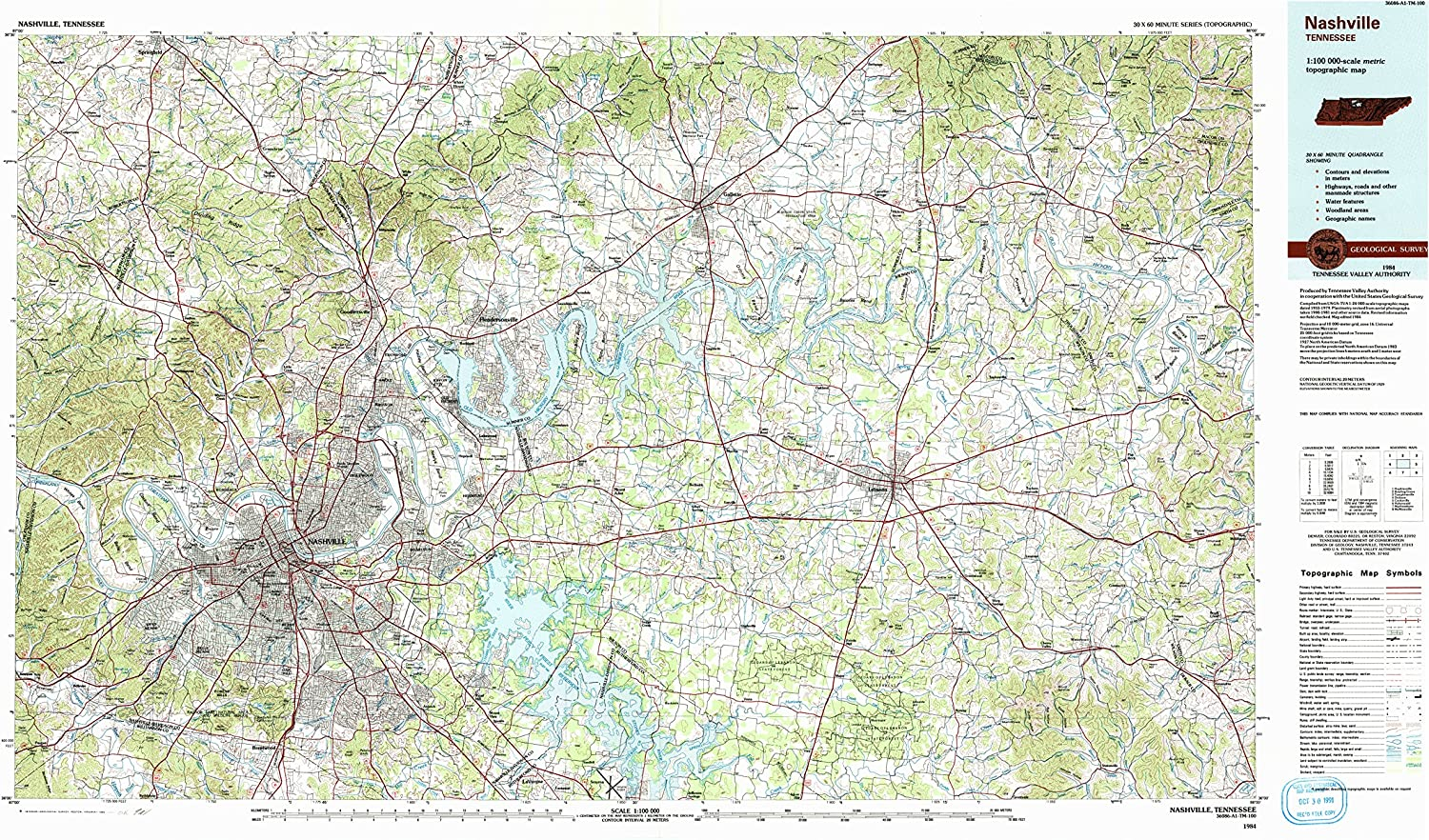 Nashville TN topo map, 1 100000 Scale, 30 X 60 Minute, Historical, 1984, Updated 1985, 24.1 x 44.1 in