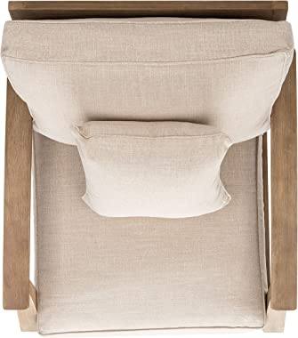 Safavieh CPT1011A Couture Martinique Natural and White Wood Outdoor Arm Chair Patio Armchair