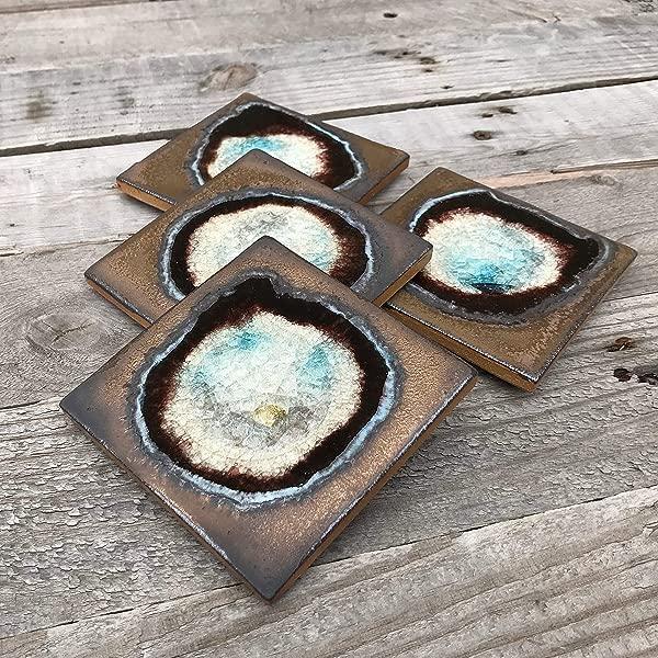 Geode Crackle Coaster Set Of 4 In Bronze Geode Coaster Crackle Coaster Fused Glass Coaster Crackle Glass Coaster Agate Coaster Ceramic Coaster Dock 6 Pottery Coaster