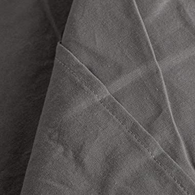 NTBAY Washed Cotton Fitted Sheet, Breathable Deep Pocket Bed Sheet, Twin, Dark Grey