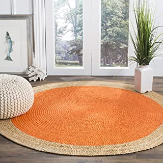 Safavieh Natural Fiber Collection NF801B Hand-Woven Orange and Natural Jute Round Area Rug (5' in Diameter)