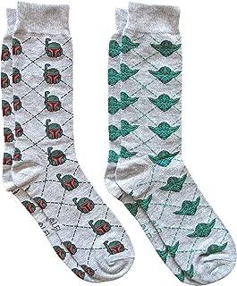 Star Wars Boba Fett/Yoda Argyle Men's Crew Socks 2 Pair Pack Shoe Size 6-12