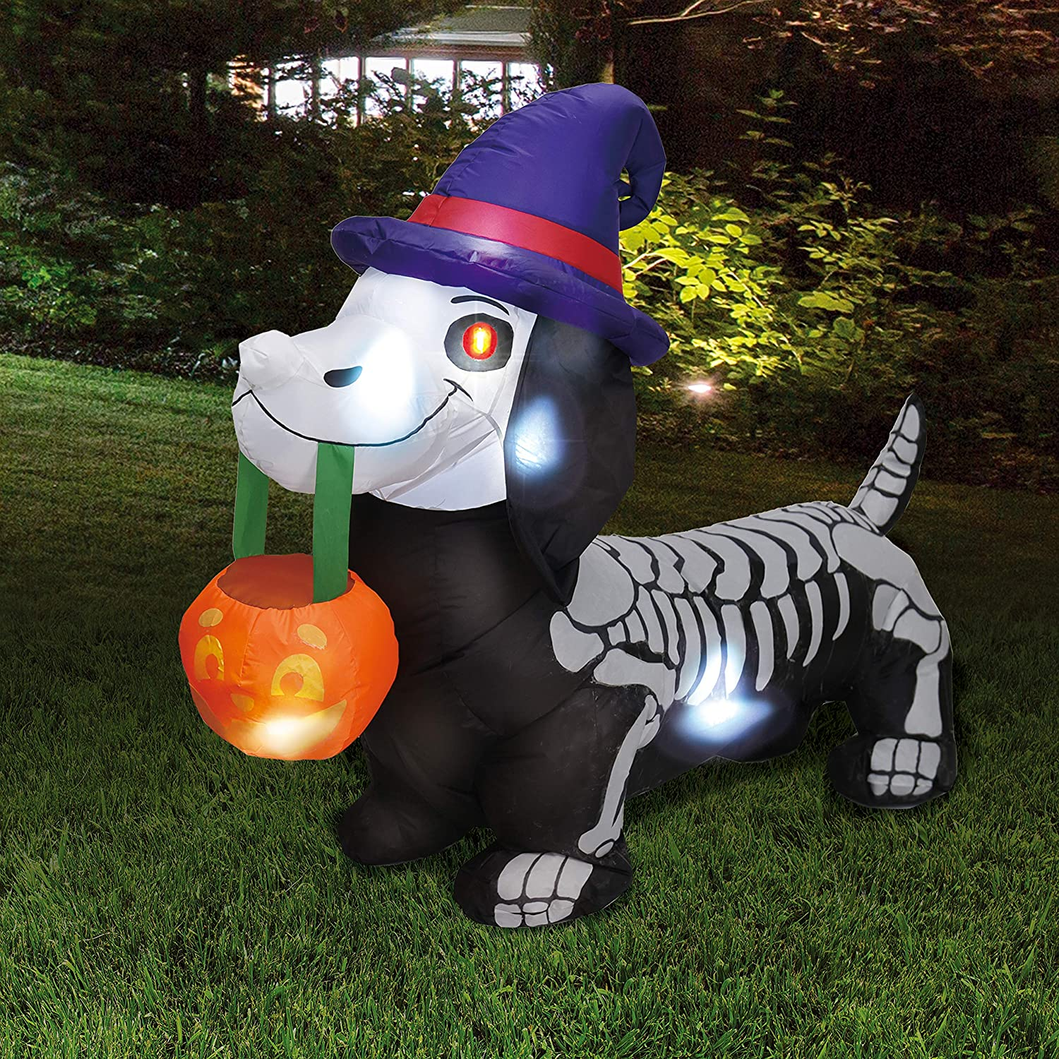 Joiedomi 5 FT Long Halloween Inflatable Skeleton Wiener Dog Inflatable Yard Decoration with Build-in LEDs Blow Up Inflatables for Halloween Party Indoor, Outdoor, Yard, Garden, Lawn Decorations