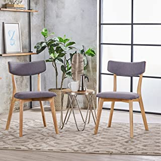 Christopher Knight Home 301304 Caleb Mid Century Fabric Dining Chairs with Natural Oak Finish(Set of 2) (Dark Grey)