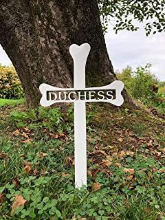 """Personalized Dog Bone Grave Marker - Custom 1/8"""" Thick Steel Piece with Glossy White Finish - Handmade in America - A Tribute to the Life & Memory of your Dog - Easily Stakes into the Ground"""