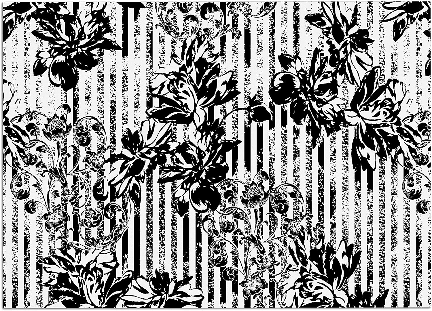 KESS InHouse Victoria Krupp Stripes and Flowers Black White Digital Dog Place Mat, 24  x 15