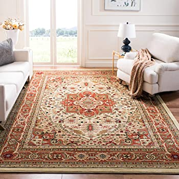Safavieh Lyndhurst Collection LNH330R Traditional Oriental Medallion Ivory and Rust Area Rug (10' x 14')